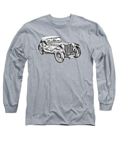 Mg Tc Antique Car Illustration Long Sleeve T-Shirt