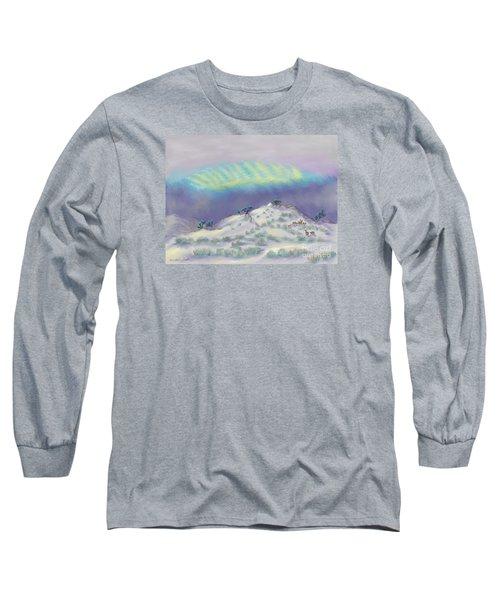 Peaceful Snowy Sunrise Long Sleeve T-Shirt by Dawn Senior-Trask