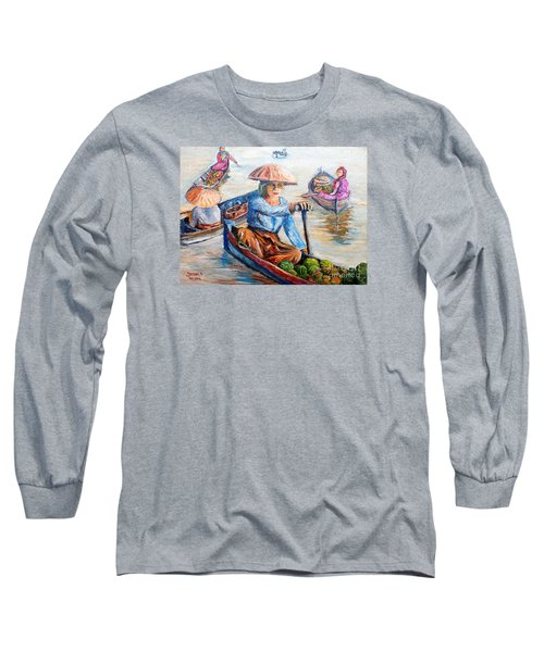Long Sleeve T-Shirt featuring the painting  Women On Jukung by Jason Sentuf