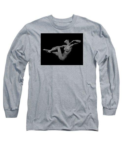 0043-dja Bw Zebra Woman Striped Girl Topographic Abstract Sensual Body Art Long Sleeve T-Shirt by Chris Maher