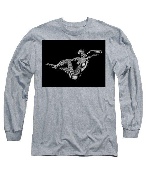 0043-dja Bw Zebra Woman Striped Girl Topographic Abstract Sensual Body Art Long Sleeve T-Shirt