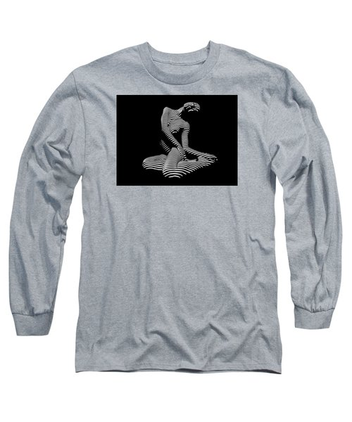 0111-dja Languid Seated Zebra Woman Black White Striped Abstract Photograph Long Sleeve T-Shirt by Chris Maher