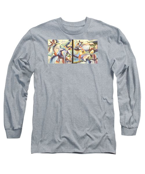 Long Sleeve T-Shirt featuring the painting 01315 Light Year Diptych by AnneKarin Glass