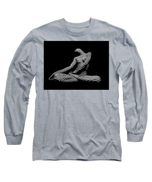 0174-dja Lotus Zebra Woman Sensual Feminine Black And White Figure Study Long Sleeve T-Shirt