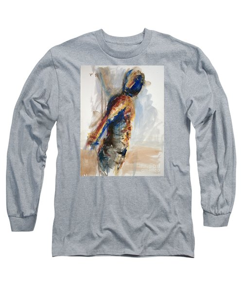 Long Sleeve T-Shirt featuring the painting 04860 Anticipation by AnneKarin Glass