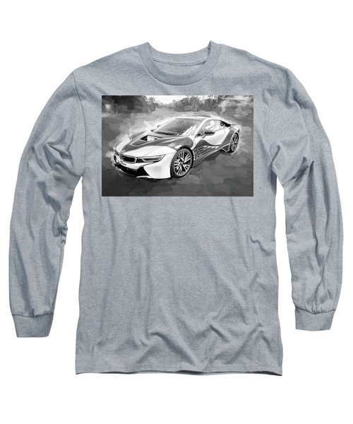 Long Sleeve T-Shirt featuring the photograph 2015 Bmw I8 Hybrid Sports Car Bw by Rich Franco