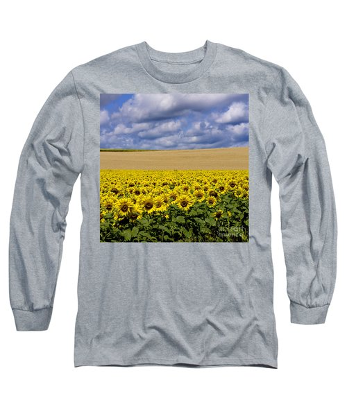 A Field Of Sunflowers . Auvergne. France Long Sleeve T-Shirt