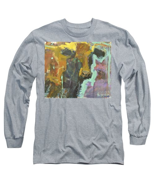 Long Sleeve T-Shirt featuring the painting Abstract Cow Painting by Robert Joyner