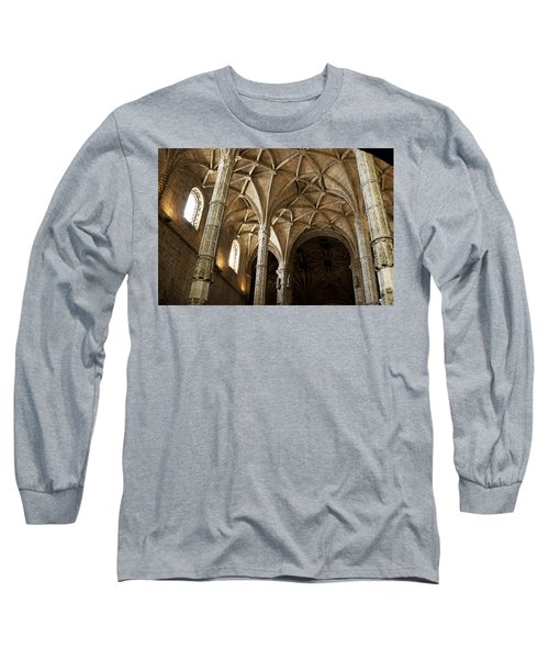 Long Sleeve T-Shirt featuring the photograph Lisbon Cathedral's Ancient Arches  by Lorraine Devon Wilke