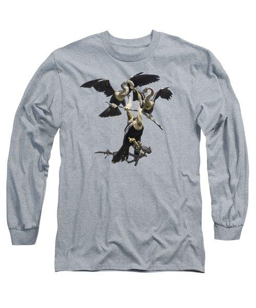 Anhinga Feeding Time Transparency Long Sleeve T-Shirt