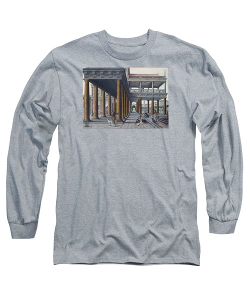Architectural Caprice With Figures Long Sleeve T-Shirt by Hans Vredeman de Vries