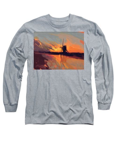 Autumn Indian Summer Windmill Holland Long Sleeve T-Shirt by Nop Briex