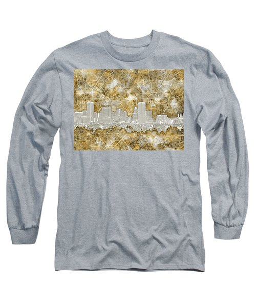Long Sleeve T-Shirt featuring the painting Baltimore Skyline Watercolor 13 by Bekim Art