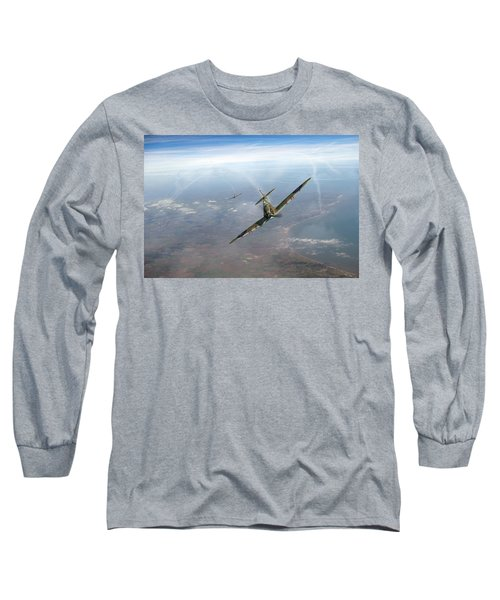 Long Sleeve T-Shirt featuring the photograph Battle Of Britain Spitfires Over Kent by Gary Eason