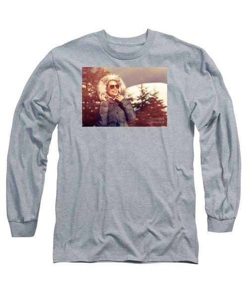 Beautiful Woman In Winter Park Long Sleeve T-Shirt