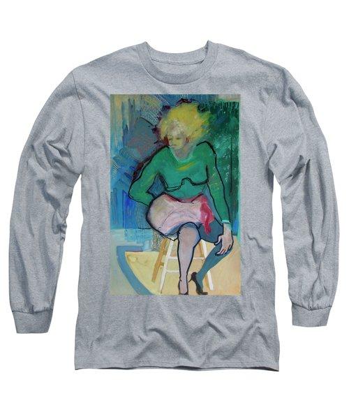Blonde In Green Shirt Long Sleeve T-Shirt