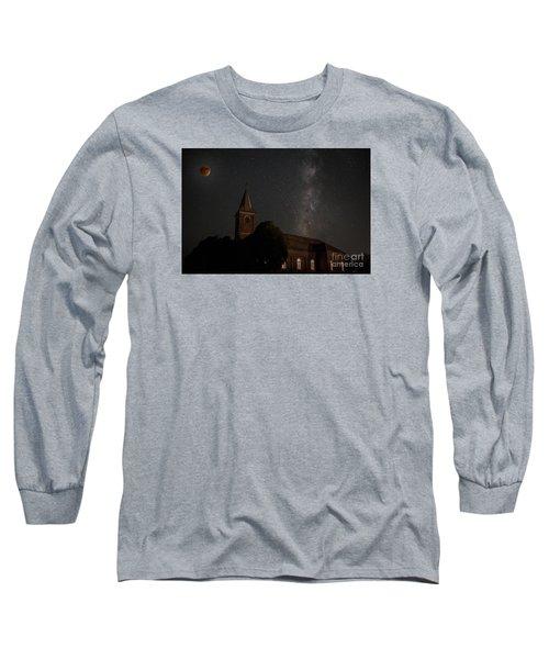 Blood Moon Over St. Johns Church Long Sleeve T-Shirt by Keith Kapple