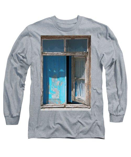 Blue Window Long Sleeve T-Shirt by Edgar Laureano