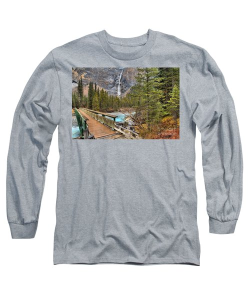 Long Sleeve T-Shirt featuring the photograph Wooden Bridge To Takakkaw Falls by Adam Jewell