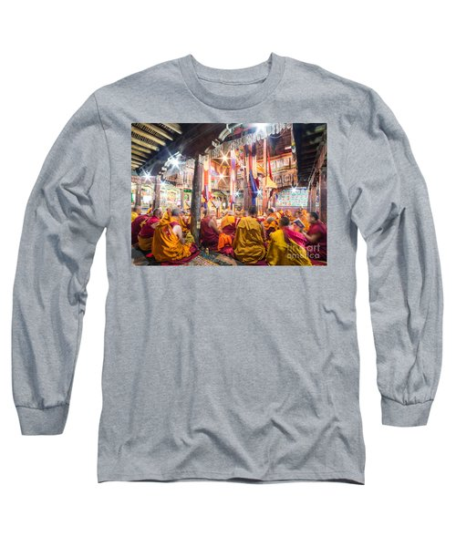 Buddhist Monks Praying In Thiksay Monastery Long Sleeve T-Shirt