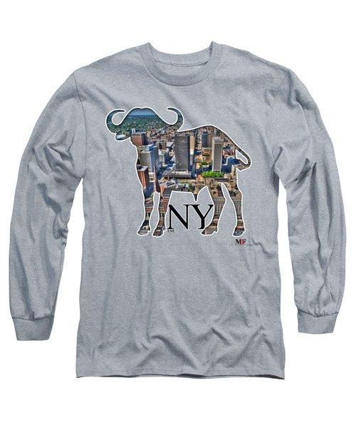Buffalo Ny Court St Long Sleeve T-Shirt by Michael Frank Jr