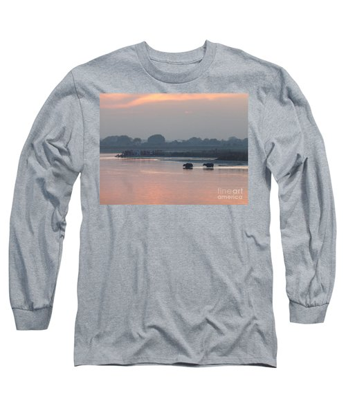 Long Sleeve T-Shirt featuring the photograph Buffalos Crossing The Yamuna River by Jean luc Comperat