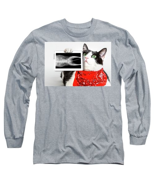 Cat With X Ray Plate Long Sleeve T-Shirt