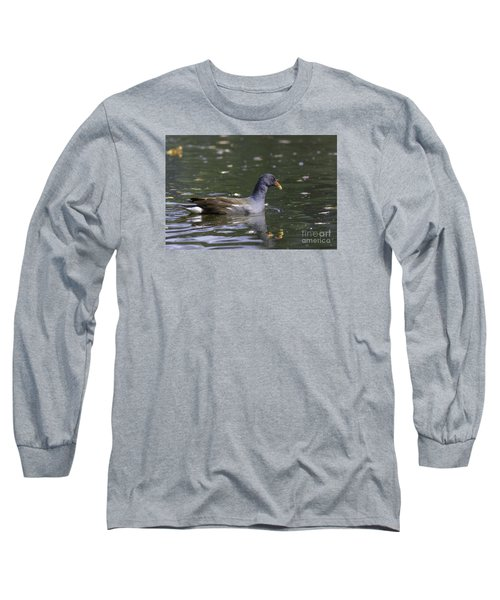 Long Sleeve T-Shirt featuring the photograph Common Moorhen by Jivko Nakev