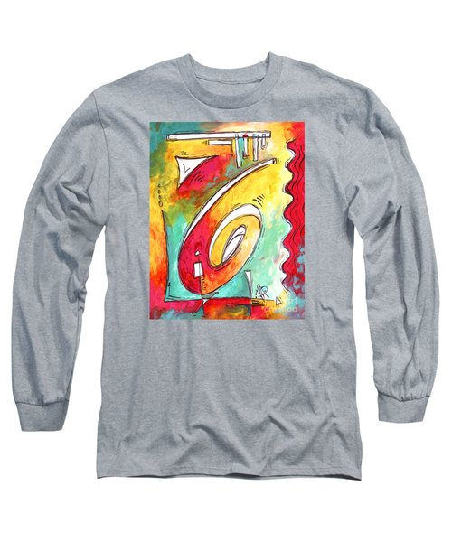 Contemporary Abstract Pop Art Style Original Painting Enjoy Life By Megan Duncanson Long Sleeve T-Shirt
