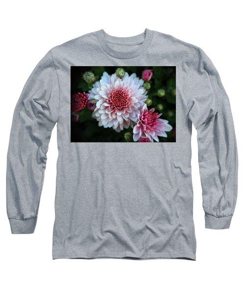 Dahlia Burst Long Sleeve T-Shirt by Ronda Ryan