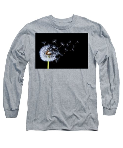 Long Sleeve T-Shirt featuring the photograph Dandelion On Black Background by Bess Hamiti