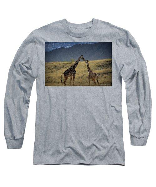 Desert Palm Giraffe 001 Long Sleeve T-Shirt by Guy Hoffman