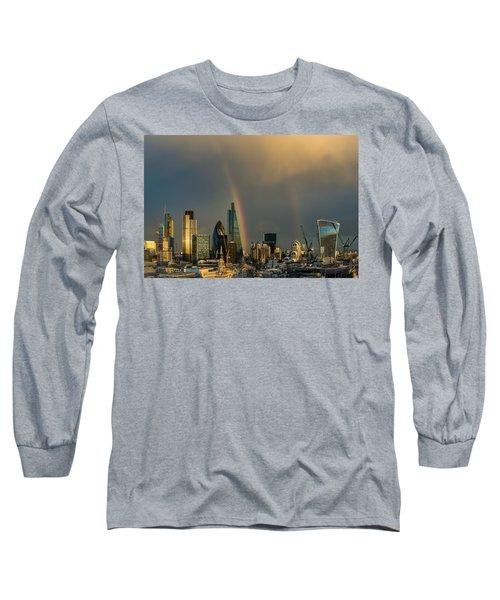 Double Rainbow Over The City Of London Long Sleeve T-Shirt