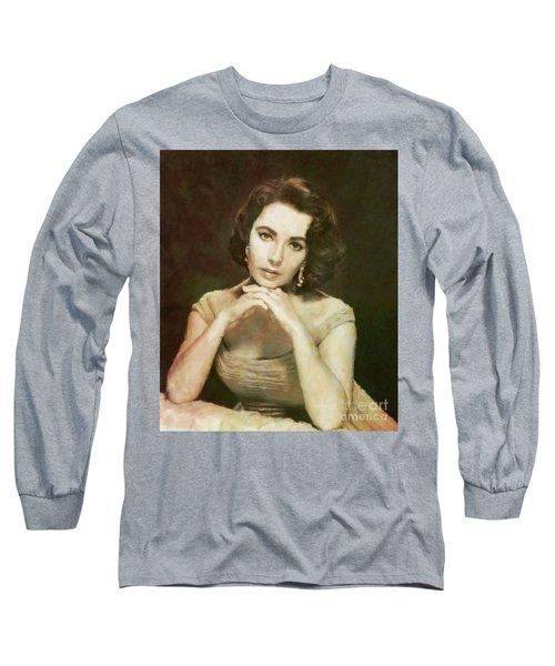 Elizabeth Taylor, Vintage Hollywood Legend By Mary Bassett Long Sleeve T-Shirt