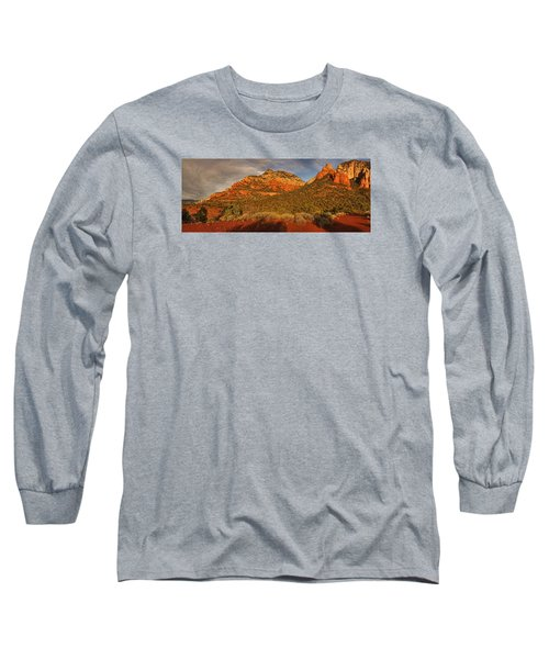 Evening Shadows Pano Txt Long Sleeve T-Shirt