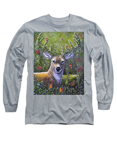 Forest Monarch Long Sleeve T-Shirt by Gail Butler