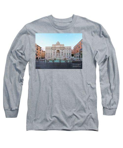 Fountain Di Trevi And Sunrise, Rome Long Sleeve T-Shirt by Anastasy Yarmolovich
