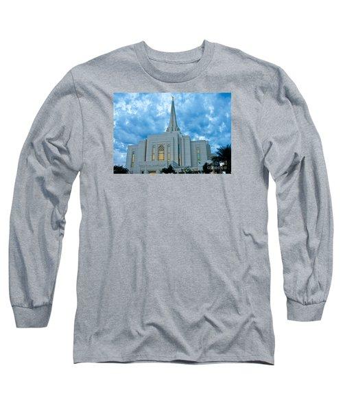 Gilbert Arizona Lds Temple Long Sleeve T-Shirt by Nick Boren