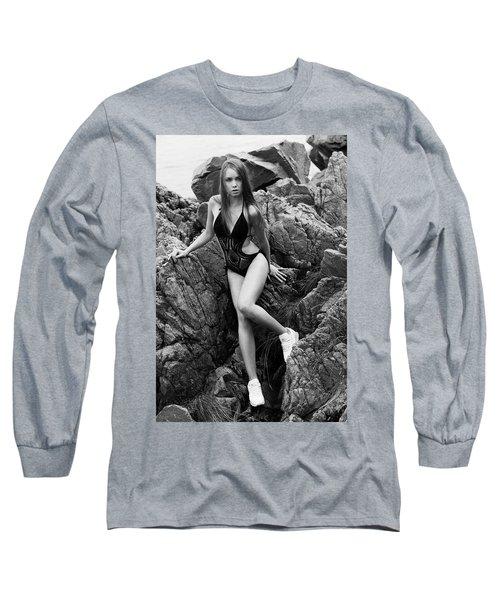 Girl In Black Swimsuit Long Sleeve T-Shirt