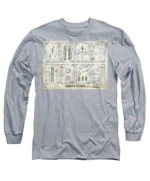 Golf Patent History Drawing Long Sleeve T-Shirt