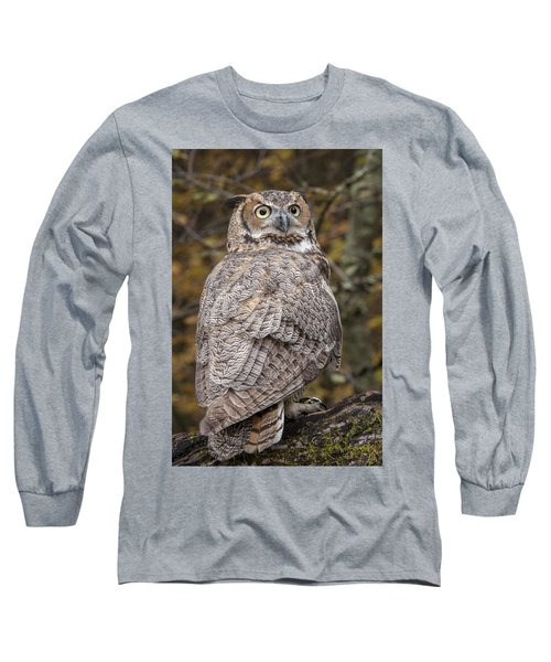Great Horned Owl Long Sleeve T-Shirt by Tyson Smith