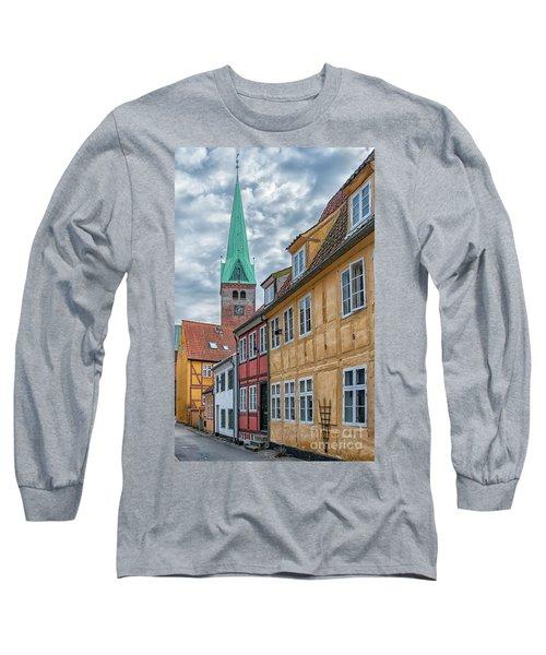 Long Sleeve T-Shirt featuring the photograph Helsingor Narrow Street by Antony McAulay