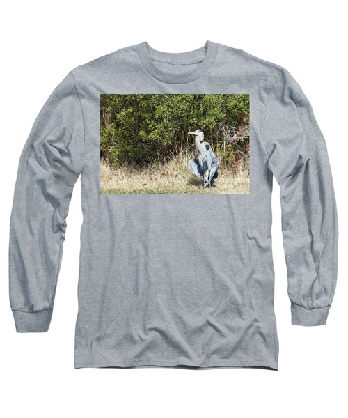 Long Sleeve T-Shirt featuring the photograph Henry The Heron by Benanne Stiens