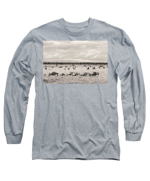 Long Sleeve T-Shirt featuring the photograph Herd Of Wildebeestes by Stefano Buonamici