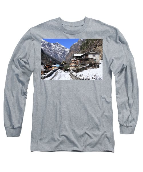 Long Sleeve T-Shirt featuring the photograph Himalayan Mountain Village by Aidan Moran