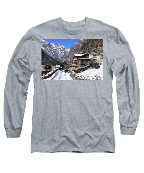 Himalayan Mountain Village Long Sleeve T-Shirt by Aidan Moran