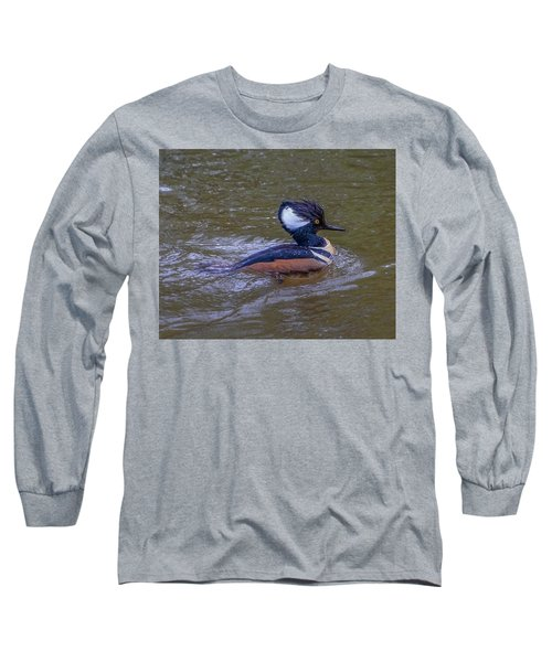 Long Sleeve T-Shirt featuring the photograph Hooded Merganser by Jerry Cahill