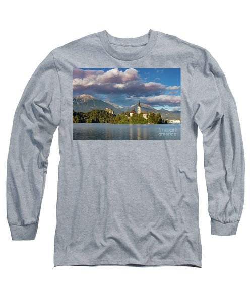Long Sleeve T-Shirt featuring the photograph Lake Bled Evening by Brian Jannsen