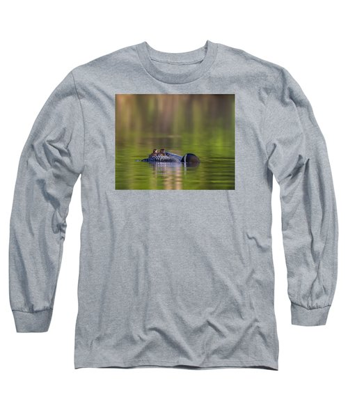Loon Chick Yawn Long Sleeve T-Shirt by John Vose