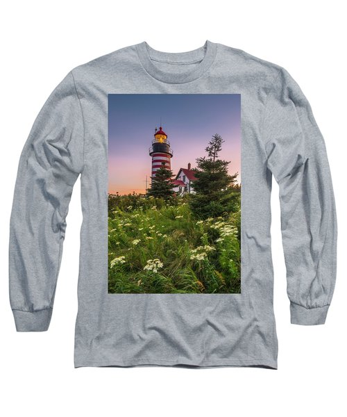 Maine West Quoddy Head Light At Sunset Long Sleeve T-Shirt by Ranjay Mitra